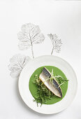 Oven-baked fish with watercress cream