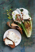 Grilled lettuce with Gorgonzola dressing and almond praline