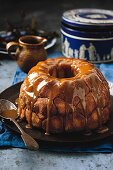 Monkey bread filled with apples and topped with caramel sauce
