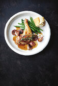 Sticky chicken with port wine figs and shallots