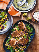 Cuban style pork cutlets and black beans