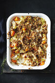 Savoury chicken crumble with butternut squash, carrots and parsnips