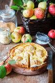 Apple pie with quark filling, sliced