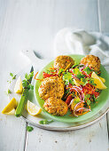 Lentil curry fish cakes with coleslaw