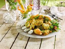 Zucchini fritters and fried zucchini flowers