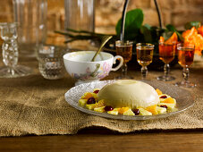 Panna Cotta With Jaggery-Rum Fruits