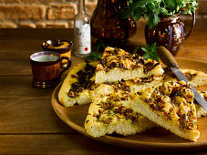 Porcini mushroom and truffle focaccia, and gremolata focaccia