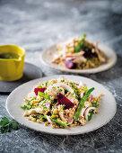 Warm beetroot, chicken and barley salad