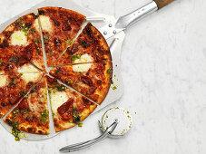 Scharfe amerikanische Pizza, in Stücke geschnitten, auf Pizzaschaufel