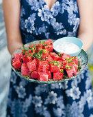 Watermelon cubes with chilli gremolata