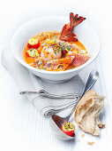 Bouillabaisse (fish stew) with Rouille tomatoes