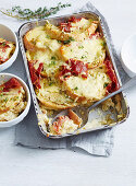 Salami and Sour Dough Bread and Butter Pudding