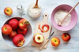 Ingredients for apple rings in pancake batter