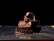 Stack of chocolate chunks