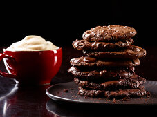 Stack of chocolate cookies and espresso