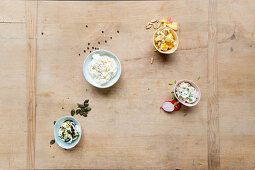 Cream cheese four ways – with mango, curry, pumpkin seeds and radishes