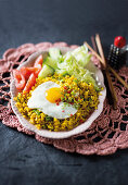 Quick Nasi goreng with crispy fried egg