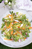 Summery cucumber salad with carrots, radishes, asparagus and dill