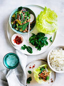 Pork Larb with green beans, cucumber and mint