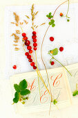 Fresh wild strawberries on grass stalks and an old book with embroidery patterns