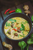 Massaman curry with potatoes and shiitake mushrooms (Thailand)
