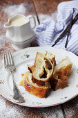 Milk cream strudel with vanilla sauce