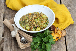 Chickpea stew with vegetables and mushrooms (five-element-cooking)