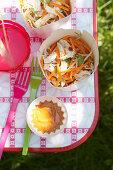 Chinesischer Hähnchensalat mit Möhren zum Picknick