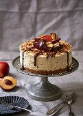 Coconut and rum ice cream cake with nectarines