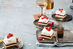 Jelly cheesecake slice with pavlova topping