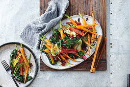 Braised carrots, rainbow chard and fennel