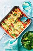 Spinach and ricotta zuchini canneloni