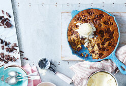 Frying Pan chocolate chip cookie with malt ice-cream
