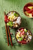 Squid and tapioca poke bowls