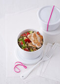 Tabbouleh with chicken, cucumber and peppers (office lunch break)