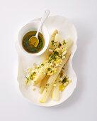 White asparagus with egg vinaigrette