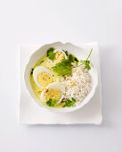 Curry eggs with rice