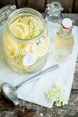 Elderflower syrup in a large jar