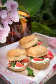 Scones with clotted cream, Pimms strawberries and peppermint