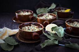 Spiced vegan soya dish gratinated with plant-based cheese