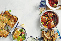 Indian beef filo pie, Chicken Pan-Bake with olives and tomatoes