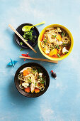 Chicken Ramen and vegetable soup
