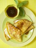 Crepe suzette with limoncello sauce