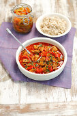 Pork goulash with peppers served with rice
