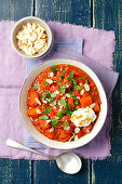 Vegetarian curry with pumpkin, lentils, garam masala and yoghurt (India)