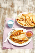 Crepes with an apple and cinnamon filling