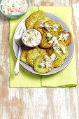 Broccoli fritters with raita