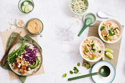 Tofu rice bowl with satay dressing - coconut and zucchini noodle soup