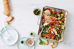 One-pan roast chicken with green bean, almond and salsa verde salad