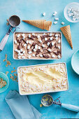 Four ingredient frozen hot chocolate ice-cream; Five ingredient coconut mango ice-cream